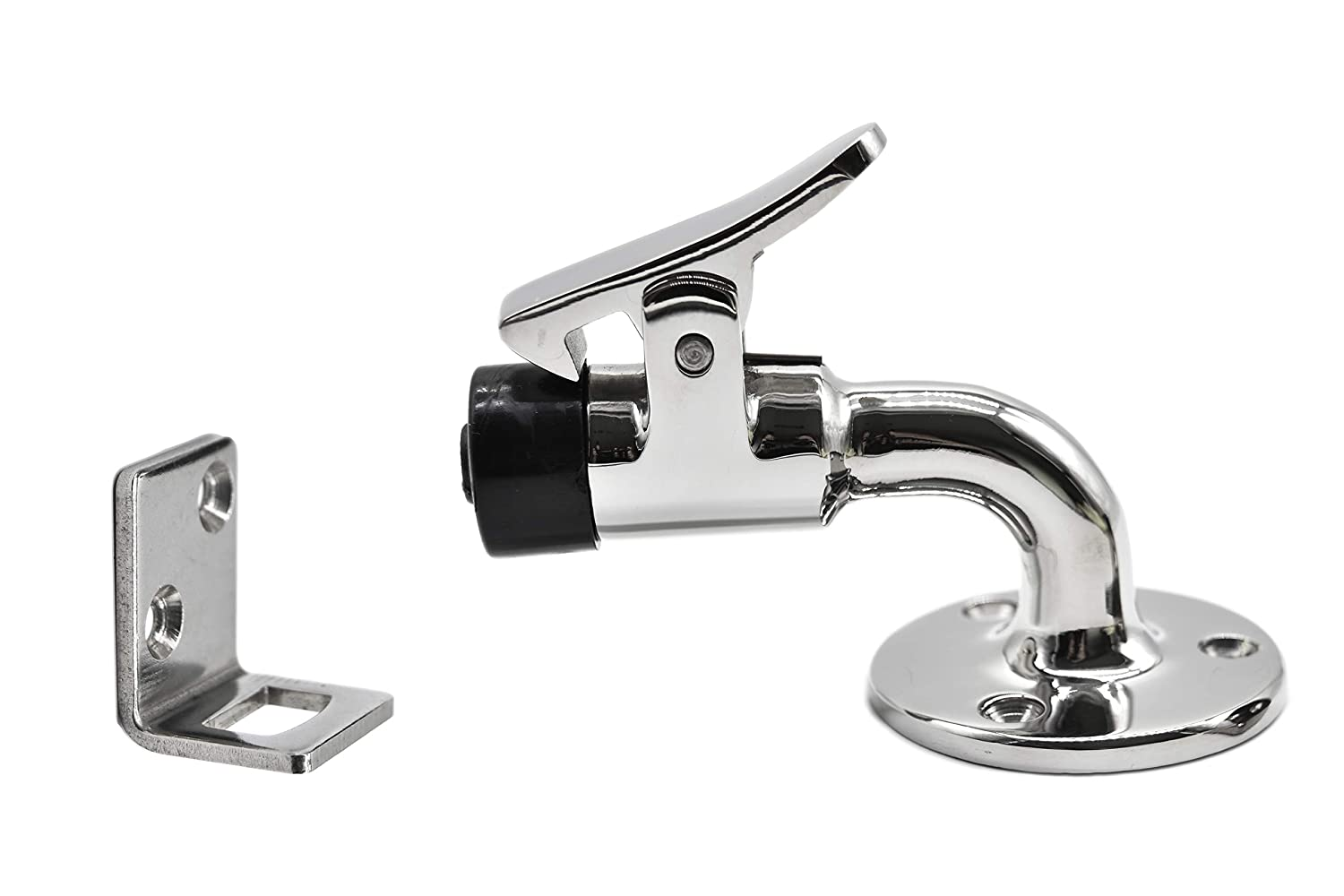 Base 2 Inches Marine City 316 Stainless Steel 90 Degree Door Stopper and Catch Set L 3 Inches