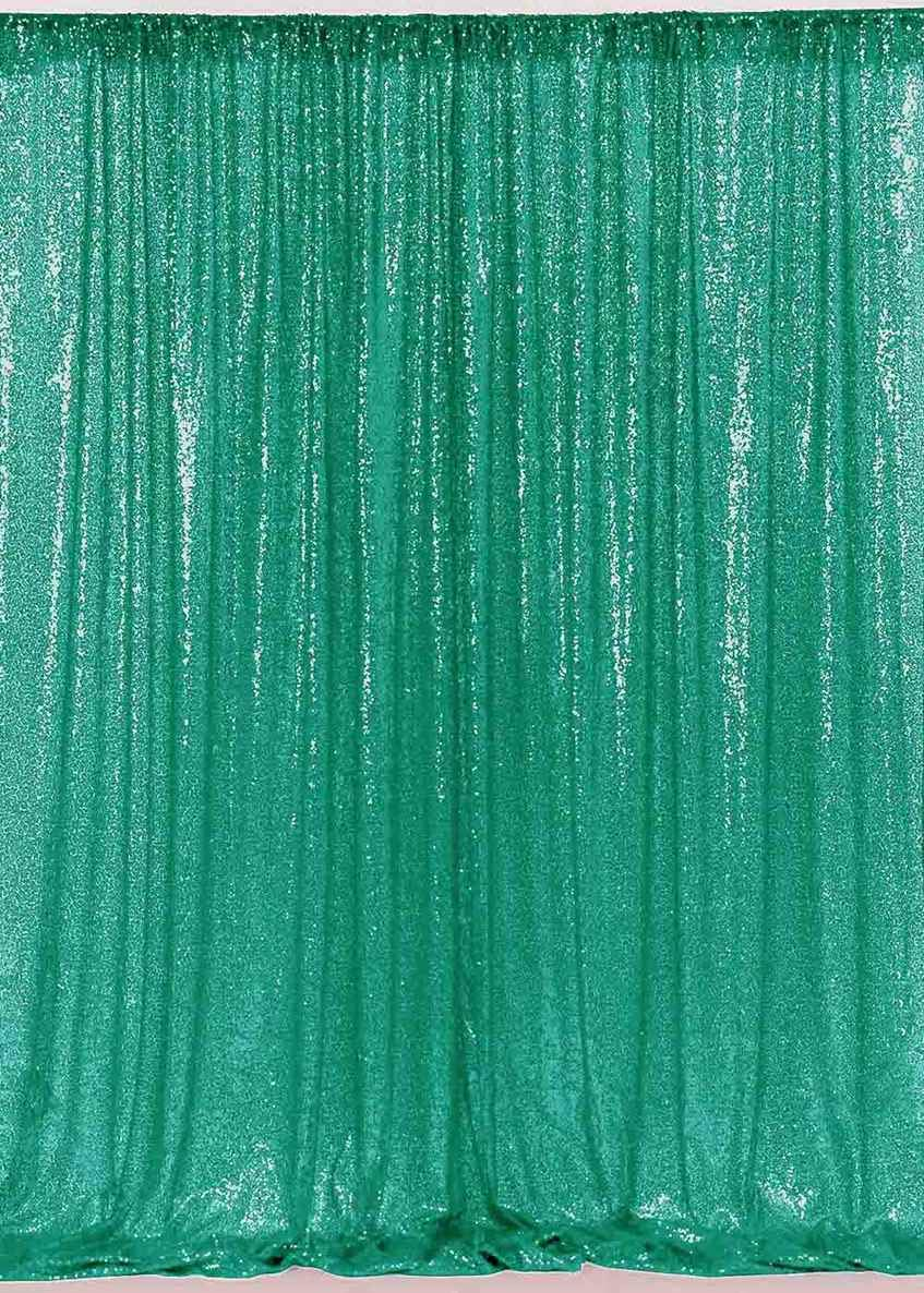 ShinyBeauty Green Sequin Backdrop 2 Panels 3FTx11FT Glitter Backdrop for Girls Sequin Curtains Party Baby Shower Backdrop~N0329 by ShinyBeauty