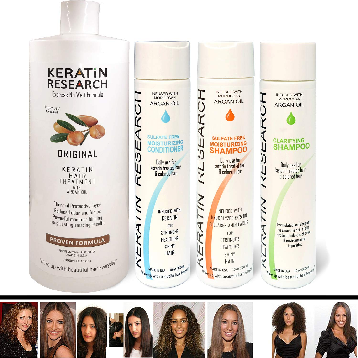 Brazilian Keratin Blowout Straightening Smoothing Hair Treatment 4 Bottles 1000ml Kit Includes Sulfate Free Shampoo Conditioner set by Keratin Research Queratina Keratina Brasilera Tratamiento by KERATIN RESEARCH
