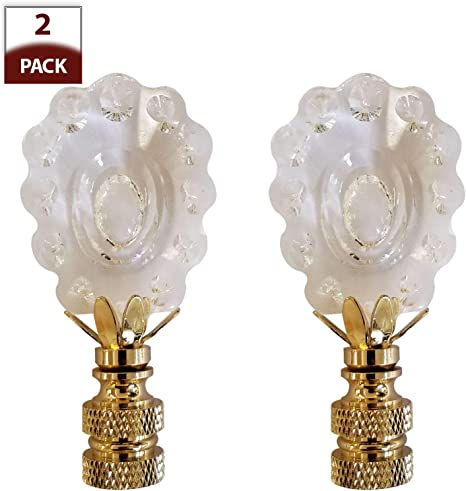 Lamp Finial-SUN-Faceted Crystal Lamp Finial-Polished Brass Base