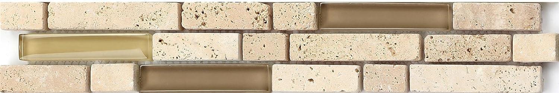 3er Pack 30 cm x 5 cm x 0.8 cm frontera del mosaico, estrecho borde Border feature mosaico-baldosas. Cristal y piedra natural mosaico de Azulejos Ladrillos en beige con aspecto de piedra (MB0001 300 mm x 50 mm x 8 mm GTDE