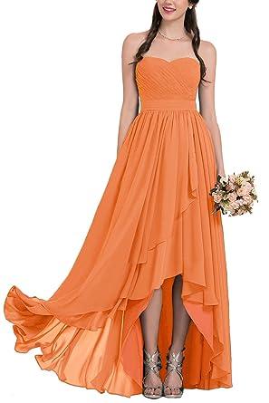 Strapless Bridesmaid Dresses Long Chiffon Sweetheart High-Low Prom Dresses Orange Size 2