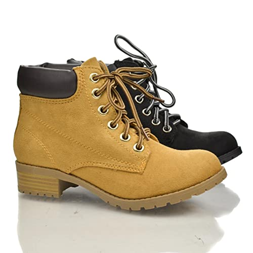 172e732da11 Sully's Lace Up Padded Ankle Collar Lugsole Platform Chunky Heel Work Boots