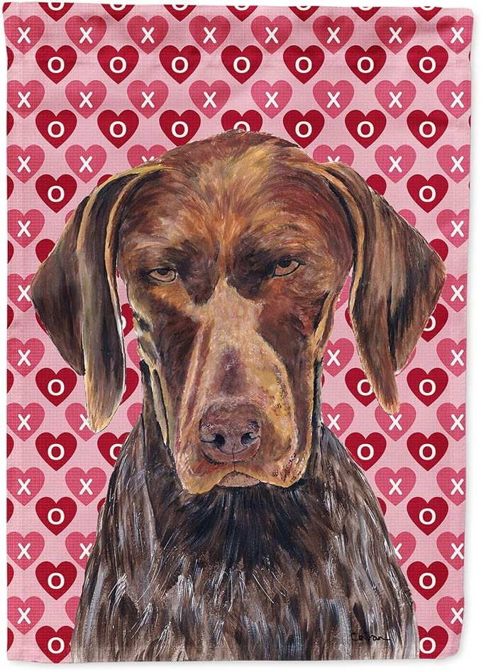 Caroline's Treasures SC9244GF German Shorthaired Pointer Hearts Love and Valentine's Day Flag Garden Size, Small, Multicolor