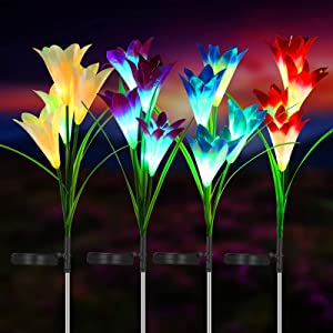 Outdoor Solar Flower Lights, 4 Solar Garden Lights with 16 Bigger Lilies, Multi-Color Waterproof Changing LED Lily Solar Powered Lights for Patio, Lawn, Garden, Yard Decoration