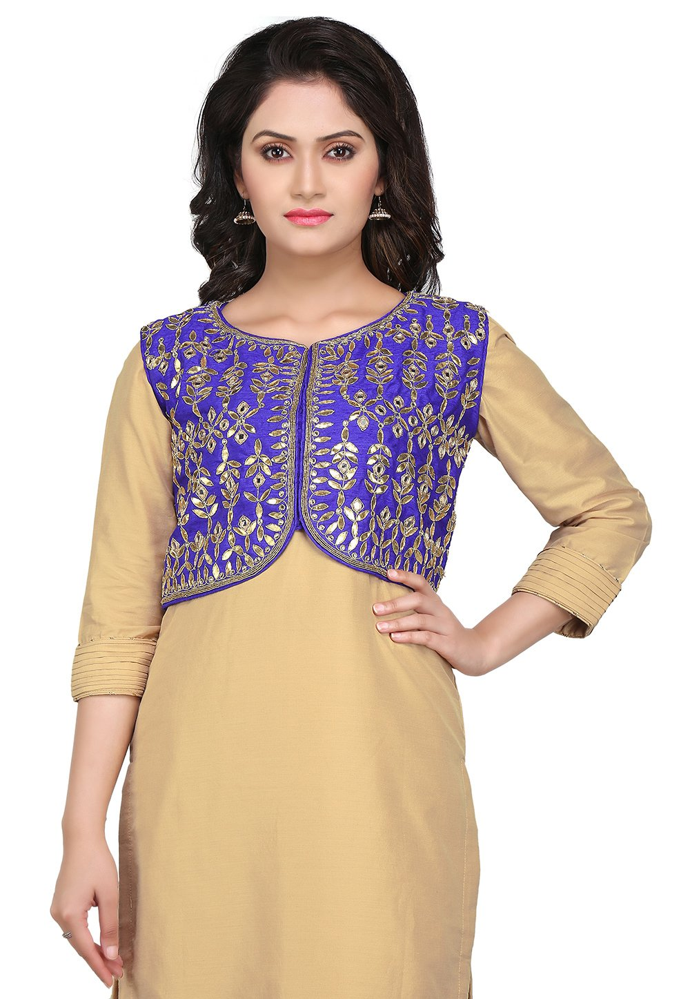 Utsav Fashion Gota Patti Embroidered Dupion Silk Jacket in Blue by Utsav Fashion