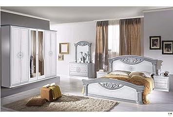 LIGNEMEUBLE TEVA Laque Blanc ET Argent Chambre A Coucher Baroque :  Lu0027Ensemble Avec L