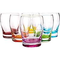 WUWEOT 6 Pack Colored Stemless Wine Glasses Set, Vibrant Splash Beer Glasses with Colored Bottom for Women Men Friends…