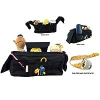 Organiseur Pour Poussette De Bébé - Clip Attache-Tétine Inclus - Sac de Rangement avec 2 Porte-gobelets Isothermes, 1 Grande Poche et 3 Pochettes pour Accessoires, Sangles Velcro