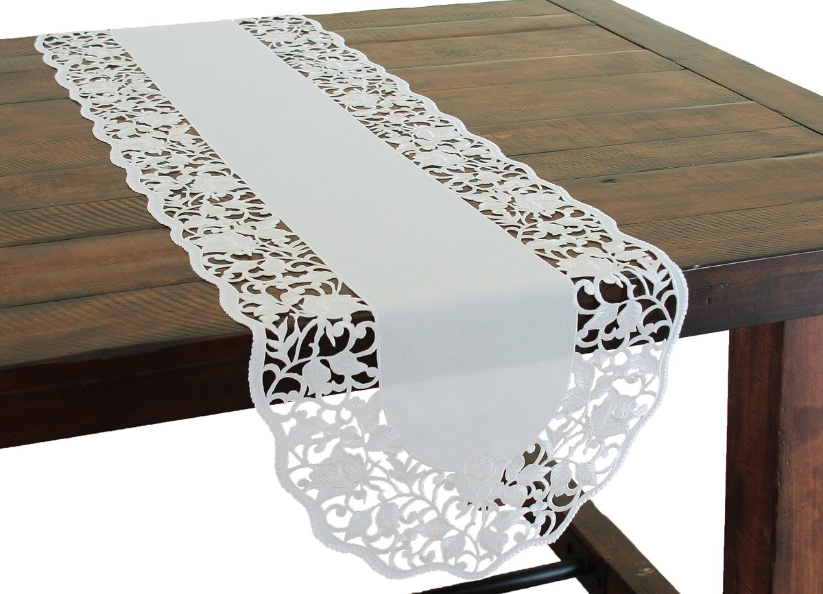 Xia Home Fashions Somerset Embroidered Cutwork Floral Table Runner, 15 by 54-Inch, White