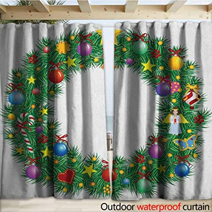 Amazon.com: warmfamily Letter O Outdoor Curtain Christmas ...