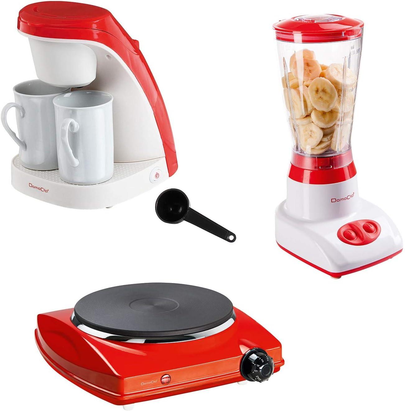 Cafetera eléctrica + batidora licuadora + placa de horno rojo 1 ...