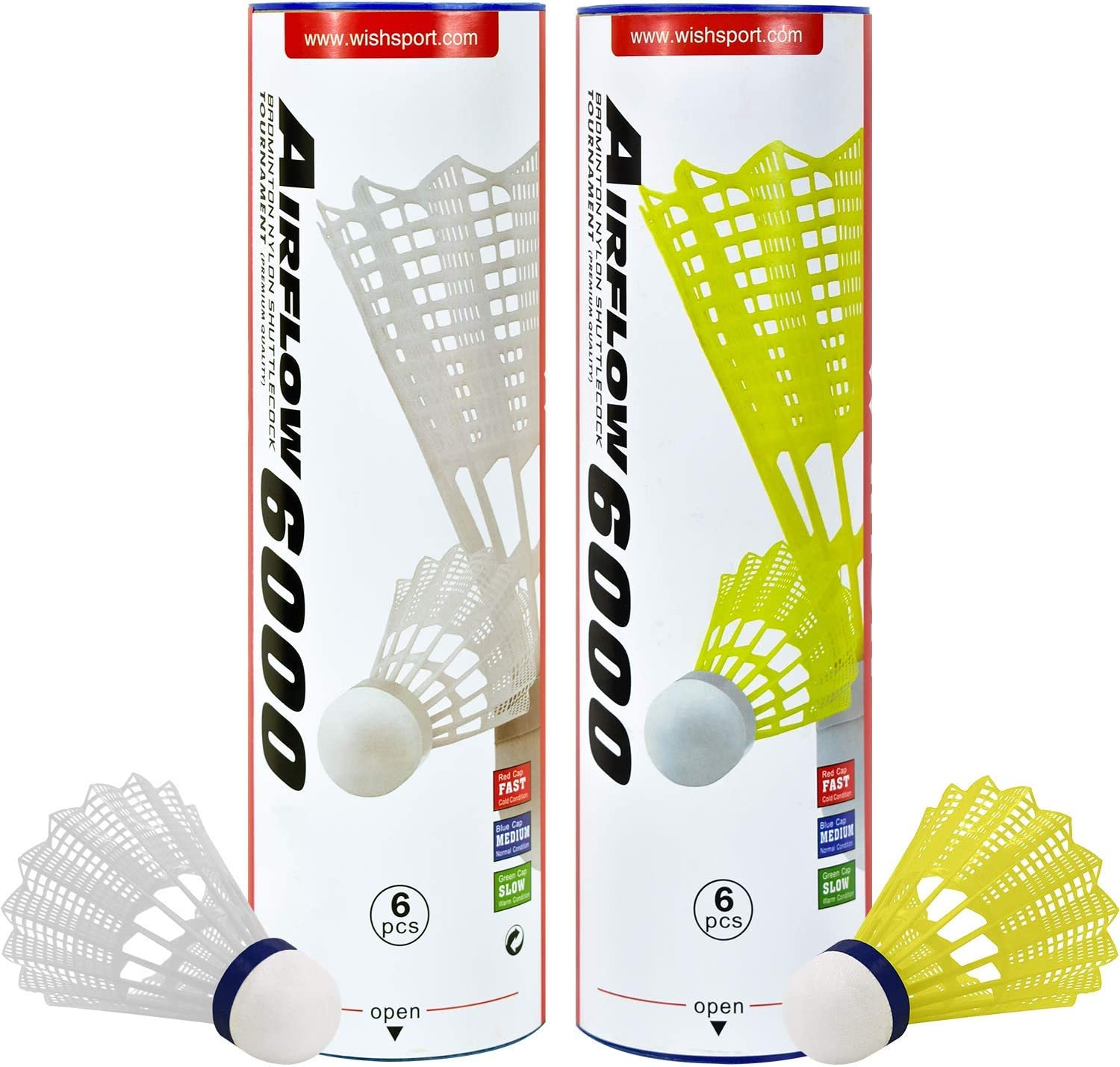 AirShuttles for outdoor Badminton 6 shuttles in 2 tube designed for AirBadminton