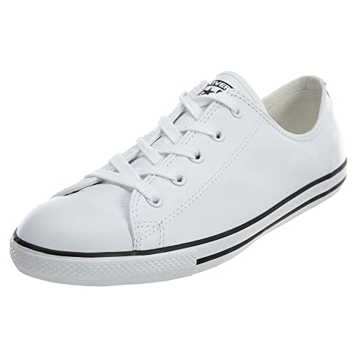 54bf2259351fbe Converse Women s Chuck Taylor Dainty Leather Shoes White 7 B(M) US ...