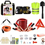 YITAMOTOR Car Emergency Kit Roadside Toolkit with 10ft Jumper Cables, Reflective Warning Triangle, Bungee Cords, Safety Vest, Folding Shovels, Function Multi-Tool, Cleansing Wipes, ect