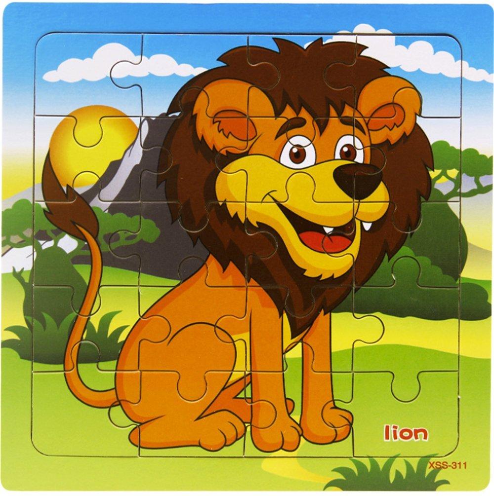 専門ショップ layhomeパズル20ピース木製パズルベビーキッズ学習Jigsaw B07FDRF3ZP Puzzlesフォレスト動物(ライオン) B07FDRF3ZP, 豆板の和平:5712f6d9 --- 4x4.lt
