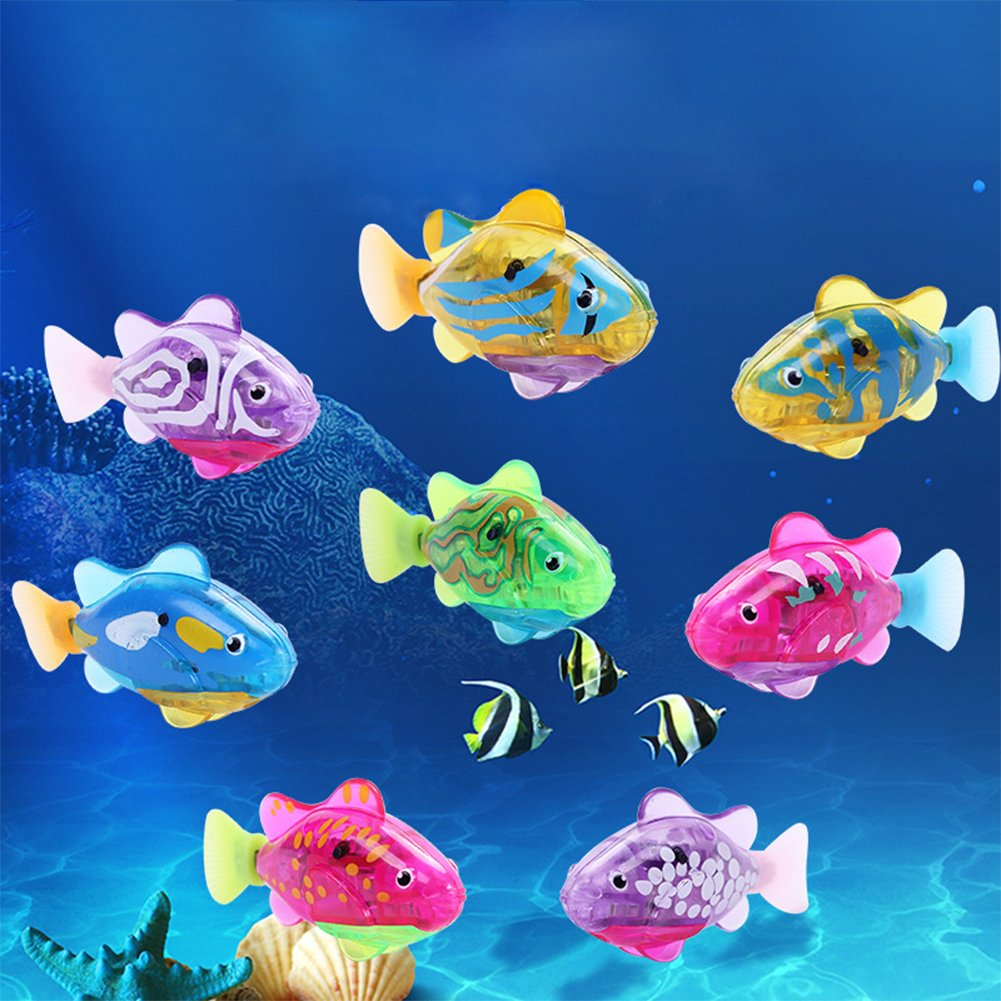 Lanlan 8PCS Electric Swimming Fish Toy LED Bath Toy Button Battery Pet Fish Fishing Game Catch A Fish For Kids