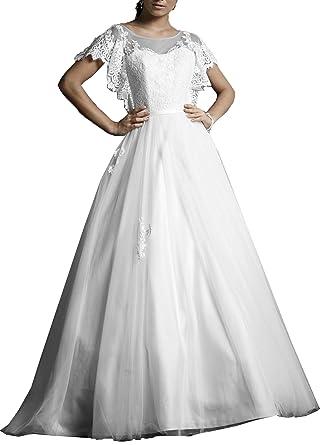 OnlyBridal Women\'s Designer Bridal Dresses Tulle Short Sleeve ...