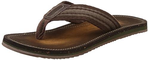 2e42905d75f8 Clarks Men s Brown Leather Flip Flops Thong Sandals - 11 UK India (46 EU