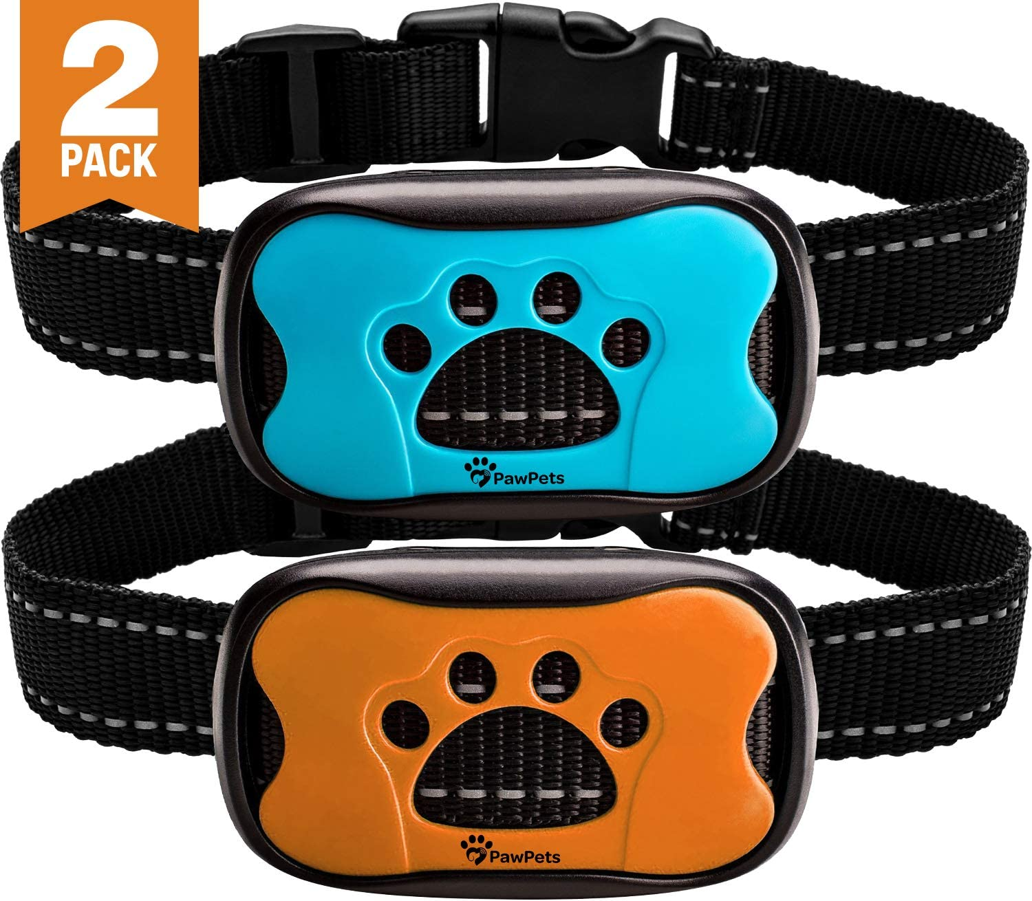 PawPets Anti Bark Collar - No Shock Training Dog Collar - Humane with Vibration and Sound Barking Collar for Small Medium Large Dogs 5-110lbs - 2 Pack