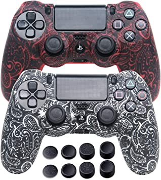Silicone Skins for PS4 Controller - DualShock 4 Cover Water Printed Protector Case Set for Sony PS4, PS4 Slim, PS4 Pro - 2 Pack Leaf PS4 Accessories - 4 Pairs PS4 Thumb Grips - Red & White