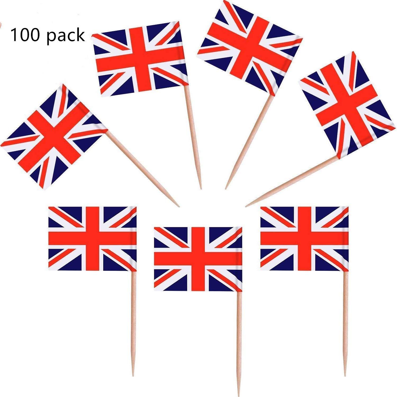 Lvcky Cure-Dents 100/pi/èces Drapeau Britannique Drapeau de lUnion Jack pour Cupcakes pour Un Anniversaire de Mariage Baby Shower f/ête Nationale