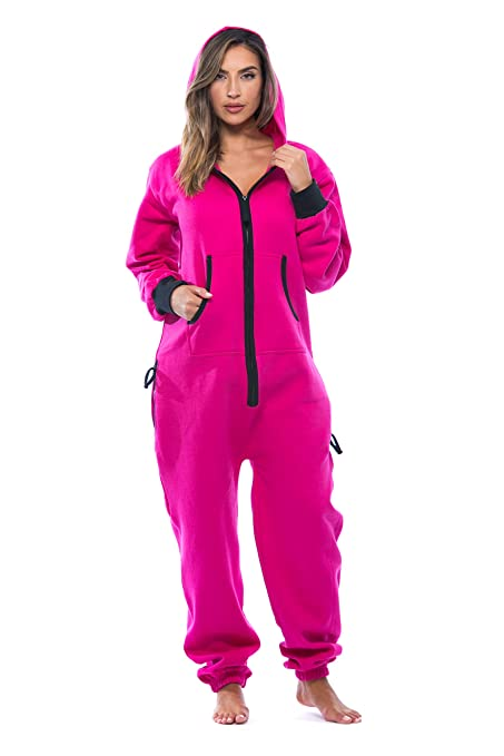 18efc4326b Adult Onesie Pajamas Jumpsuit Bright Pink Fuscia Adult Onesie Hooded  Jumpsuit Women Regular And Plus Size
