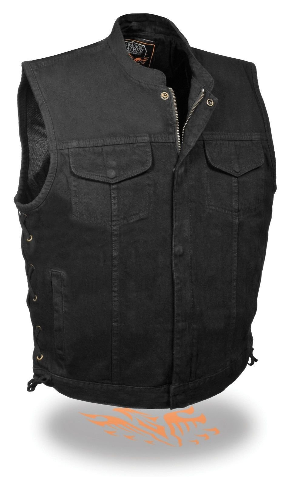 MEN'S MOTORCYCLE SON OF ANARCHY BLACK DENIM VEST SIDE LACES W ZIPPER GUN POCKETS (XL Regular)