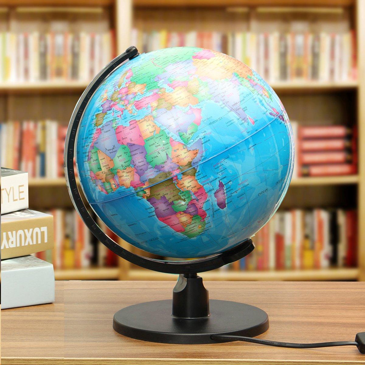 Hvlystory World Earth Globe Atlas Karte Geographie Bildungsgeschenk mit drehbarem St/änder LED-Licht