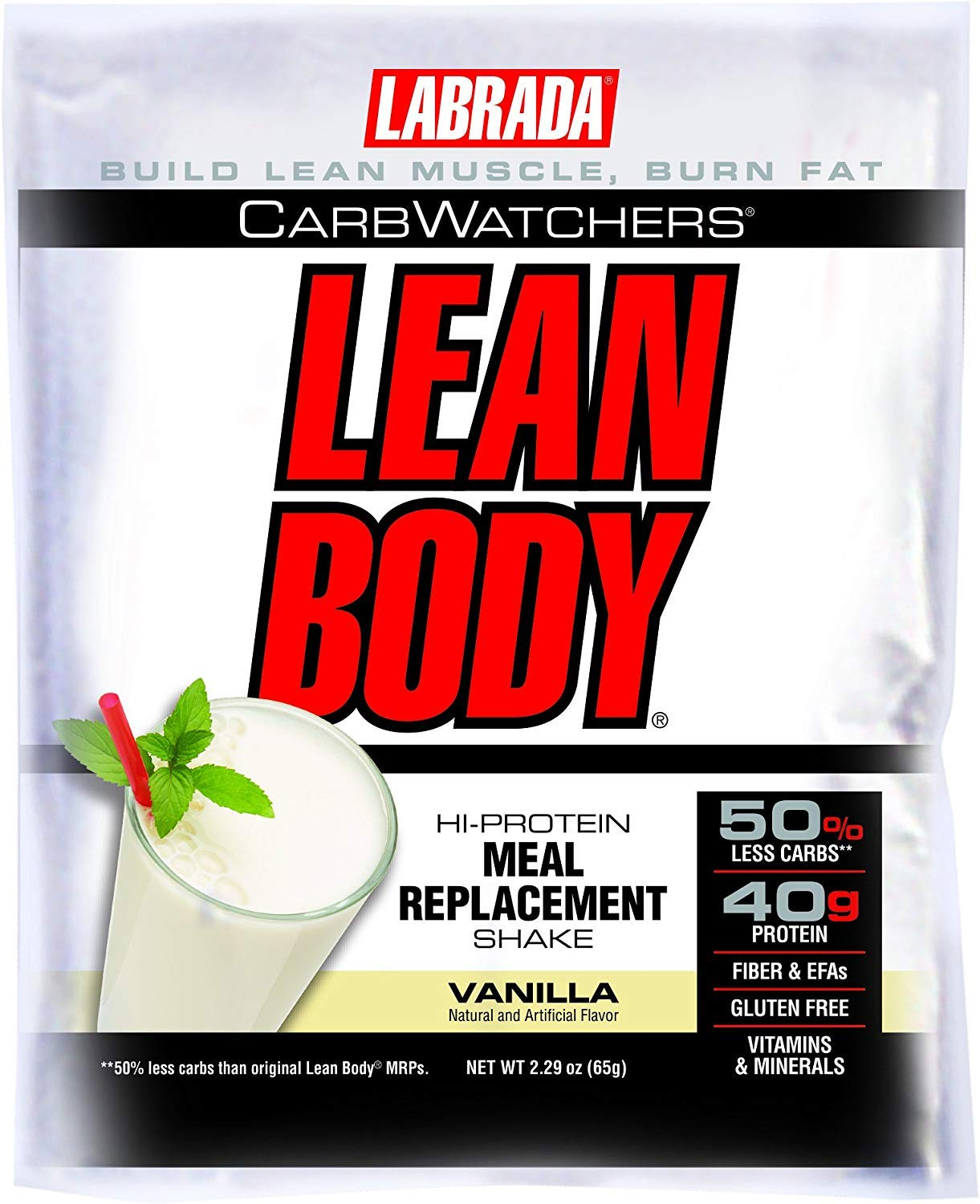Labrada Nutrition Carb Watchers Lean Body Hi-Protein Meal Replacement Shake, Vanilla , 2.29-Oz. Packets Pack of 20
