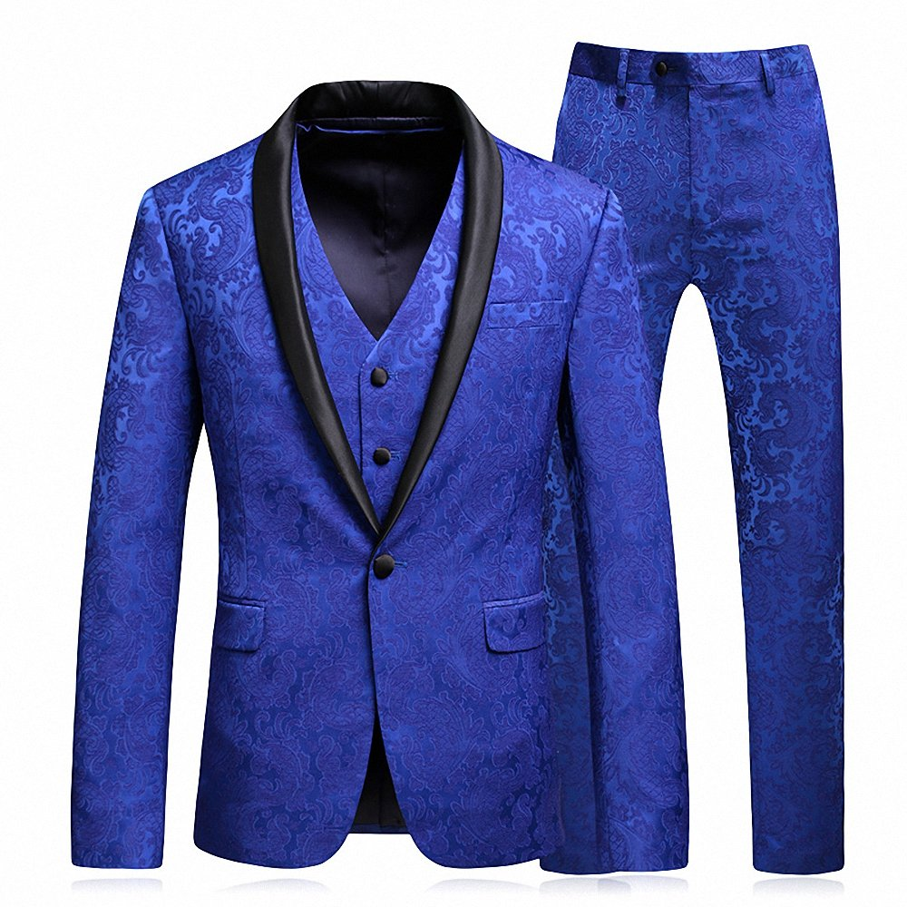 WEEN CHARM Men's 3 Pieces Suit Shawl Lapel One Button Slim Fit Jacket Vest & Pants