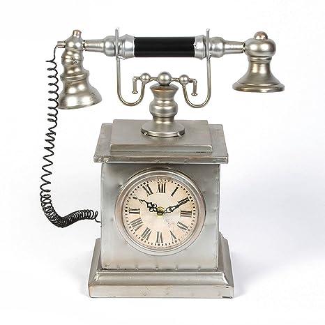 Hometime - Reloj de sobremesa de metal en forma de teléfono antiguo, diseño vintage,