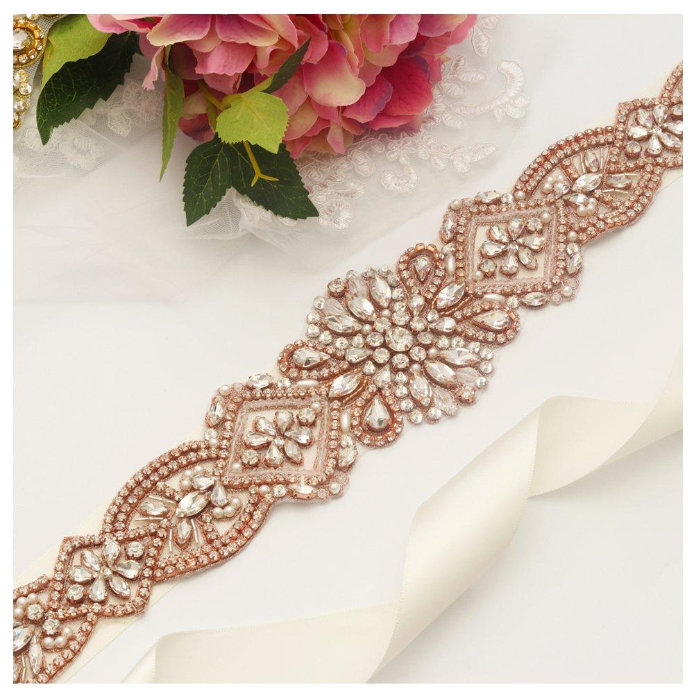 yanstar Handmade Rose Gold Rhinestone Crystal Pearls Wedding Bridal Belt Sash with Ivory Ribbon Sashes for Evening Party Prom Bridesmaid Dress