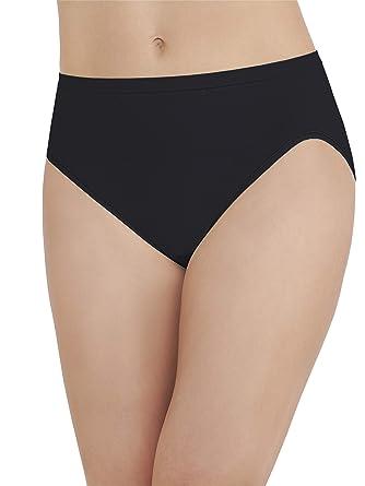 f7d2b0c523a3 Vanity Fair Women's Seamless Strata Hi Cut Panty 13211, Midnight Black,  Medium/6