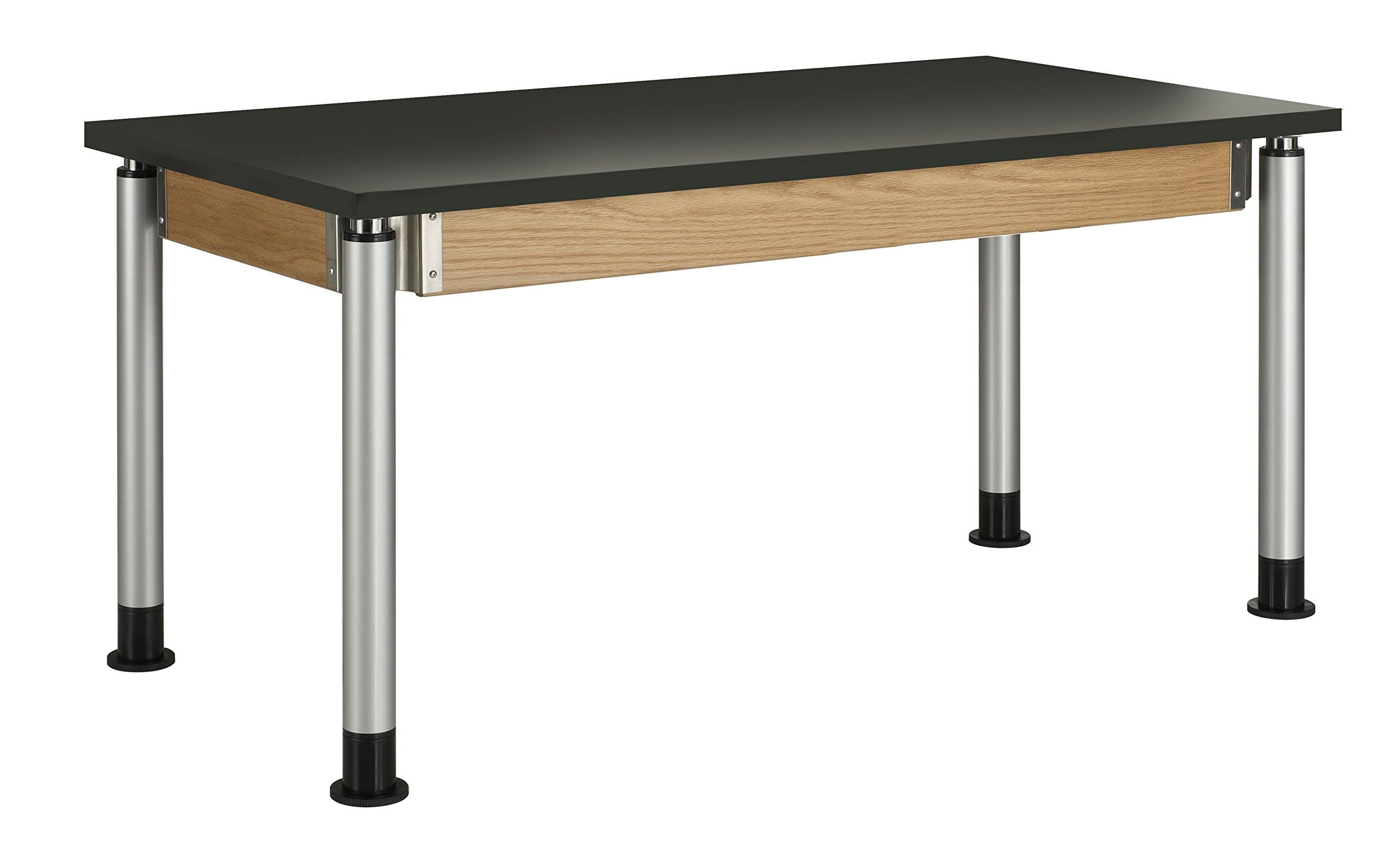 Diversified Woodcraft P8142K UV Finish Plain Adjustable Height Table with Chemguard Top, 60'' Width x 39'' Height x 30'' Depth
