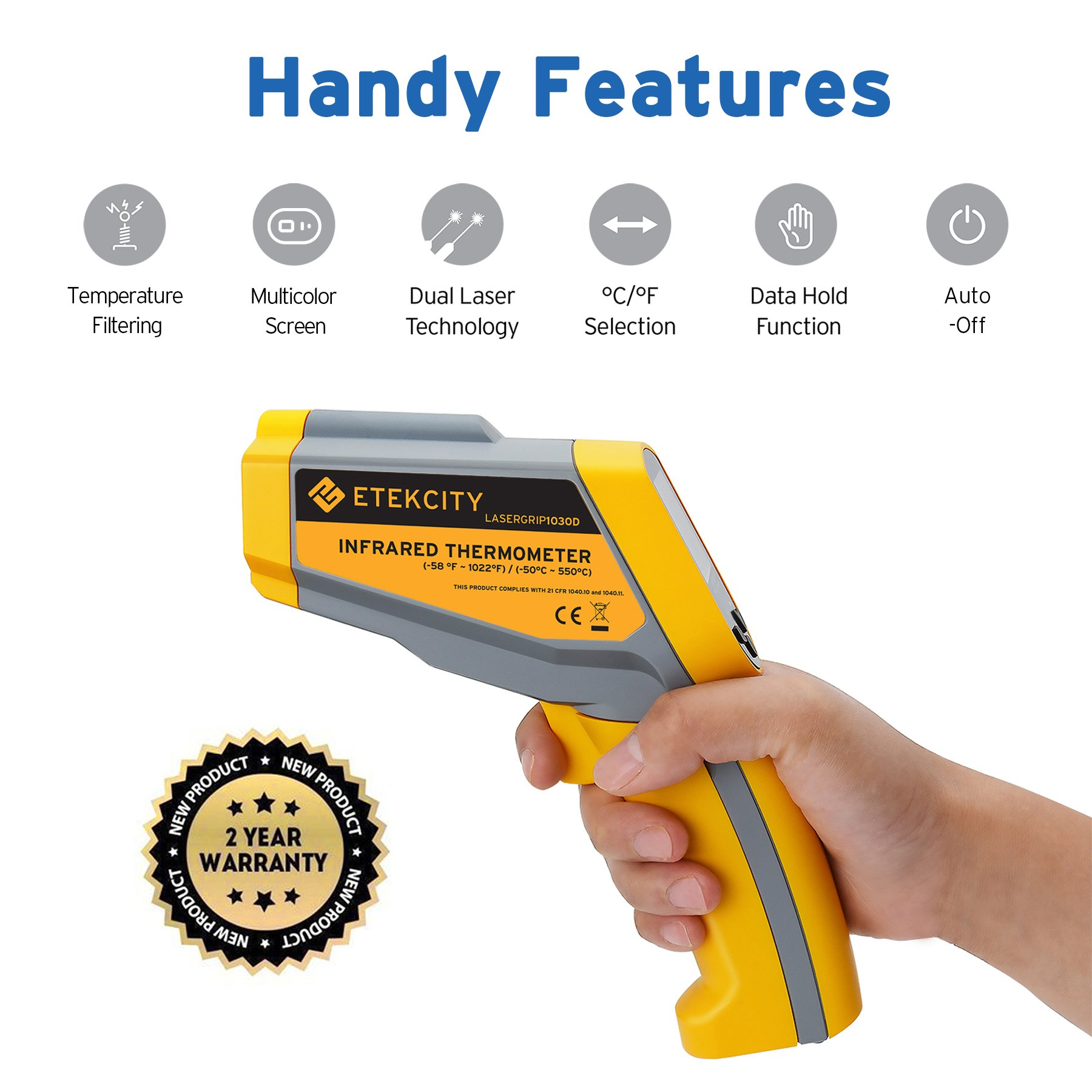 Etekcity Lasergrip 1025D Digital Dual Laser Infrared Thermometer Temperature Gun Non-contact -58℉~1022℉ (-50℃ ~ 550℃) with Voltage Detecting, Adjustable Emissivity by Etekcity (Image #7)