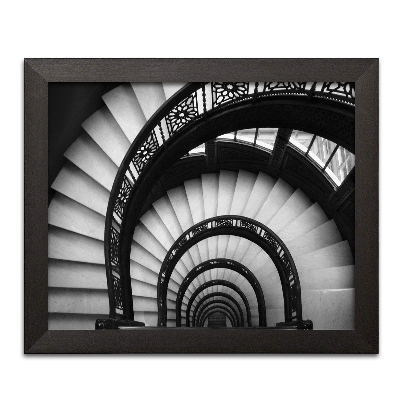Amazon com gango home decor beautiful black and white spiral staircase photo one 14 x 11 framed print posters prints