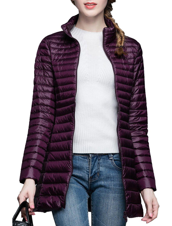 CHERRY CHICK Women's Light Weight Puffer Down Long Jacket XX-Large Dark Purple