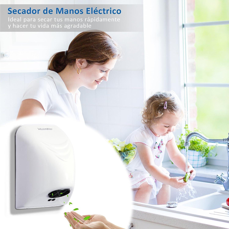 kleankin Secador de Manos Electrónico Automático con Sensor Montaje en Pared 850W contra Sobrecalentamiento Aire Caliente 20.5x13.5x29cm: Amazon.es: Hogar