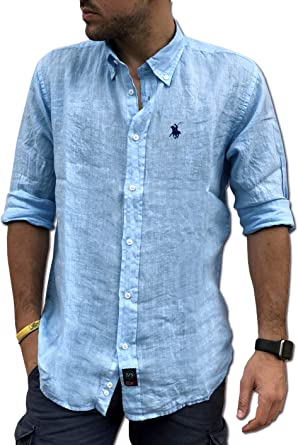 Camisas y alrededores Camisa Pura Lino Tipo S Made in Italy Talla M, L, XL, XXL, 3XL Hombre Button-Down Manga Larga Art.19
