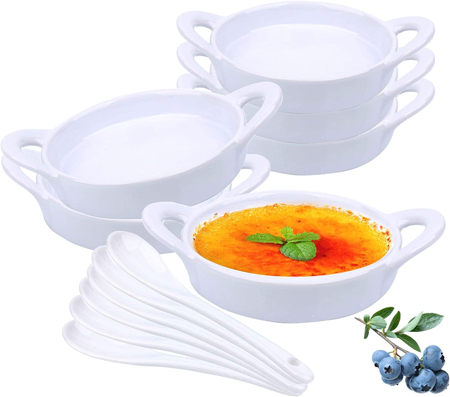 Souffle Dish Ramekins for Baking – 5 Ounce (Set of 6, White with 6 Extra Spoons) 5 Oz, Half Cup Ceramic Oven Safe Round Ramekin Bowls for Desserts Puddings Souffle Condiments Sauces Dips Dressings Desserts Puddings Custards Cups