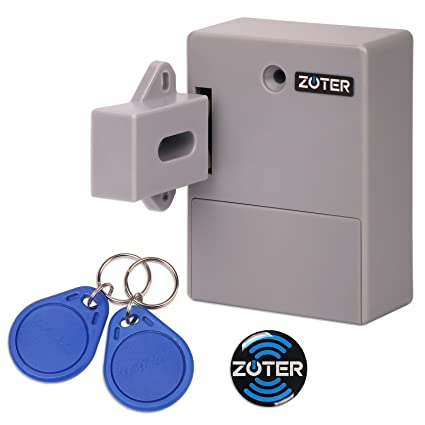 ZOTER Cabinet Lock, Battery RFID Card Hidden Drawer Locker Lock Keyless DIY  Without Perforated Hole