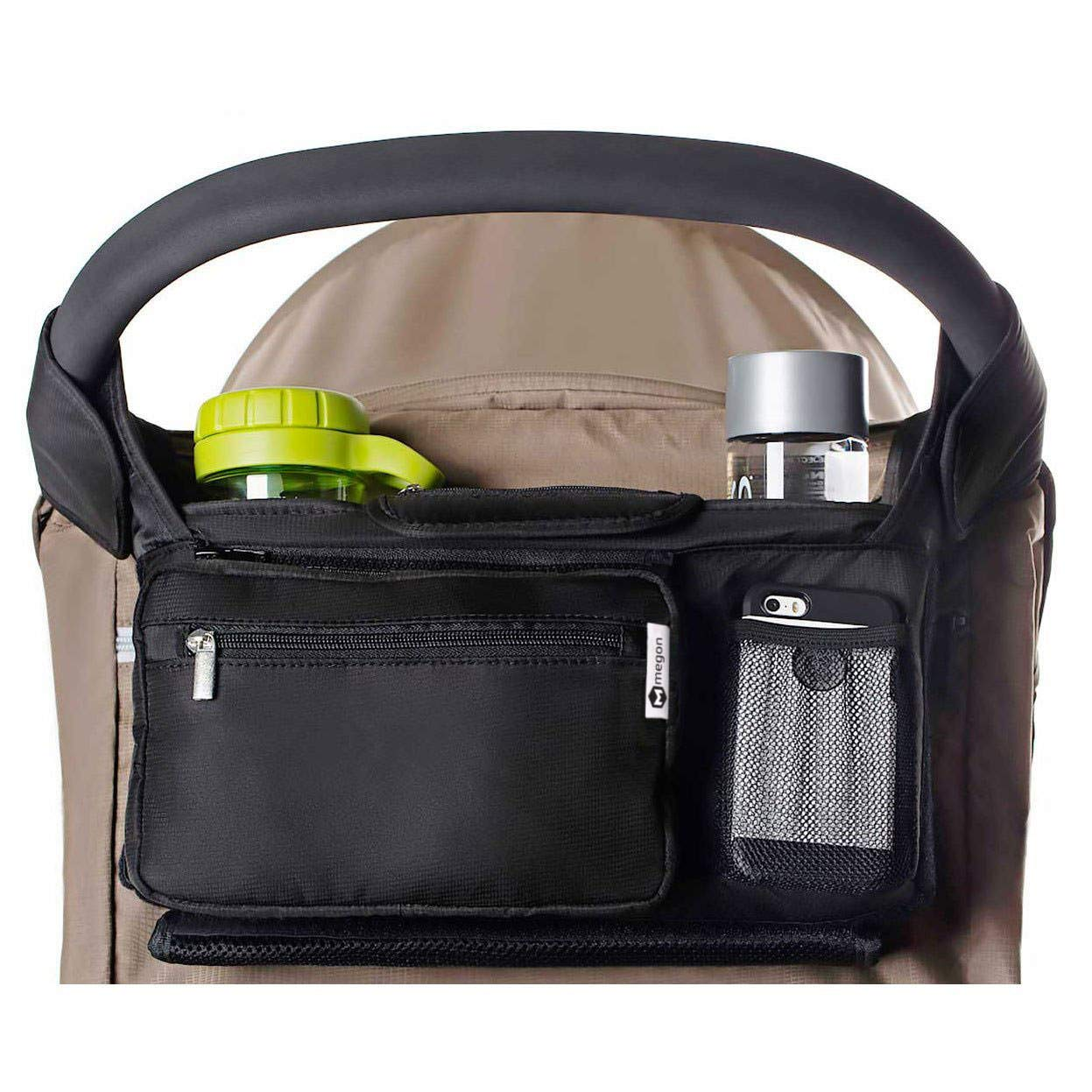 Insulated Cup Holders Keys Cell Phone Portable Pram Organiser Wallet Diapers Multi Function Organizer Bag for Joie chrome dlx Pushchair Organizer Stroller Bag Travel Parent Console Stores Bottles