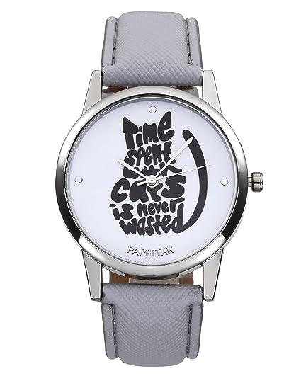 jsdde Relojes Fashion Mujer Reloj De Pulsera Cute Gato Patrón Mujer Reloj Cuero PU Pulsera Analógico De Cuarzo Reloj con batería Gris: Amazon.es: Relojes