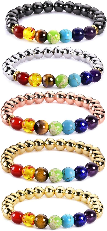 J.F/ée 7 Chakras Bracelet Extensible de Pierre Gemme 5 Pack Bijoux Set Huile Diffuseur Cristal Bracelet Yoga Mala Bracelet Cadeau de Saint Valentin