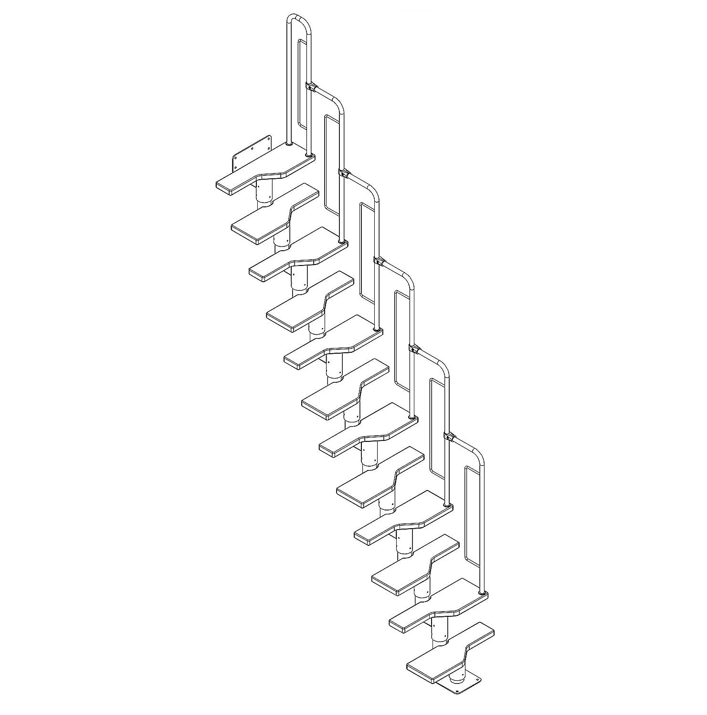 Geschossh/öhe 240,5-292 cm Gerade bis /¼-gewendelt einfache Montage Treppe mit Gel/änder Bausatz Multiplex mit Buche-Deckfurnier DOLLE Raumspartreppe mit 12 Stufen
