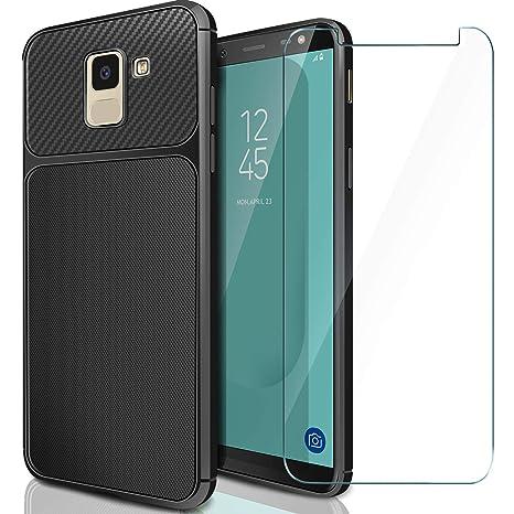 AROYI Funda + Cristal Templado para Samsung Galaxy J6 2018, Carcasa Soft Slim Flexible TPU Silicona Gel Espalda Case Cover para Samsung Galaxy J6 2018 ...
