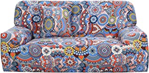 uxcell Printed Sofa Cover Couch Covers Polyester Spandex Fabric 1-Piece Stylish Sofa Slipcover Fitted Furniture Protector with One Free Cushion Case Blue Red Sofa 3seater