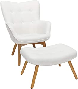 OFM 161 Collection Mid Century Modern Tufted Fabric Lounge Chair with Ottoman, Solid Honey Beechwood Legs, in Beige