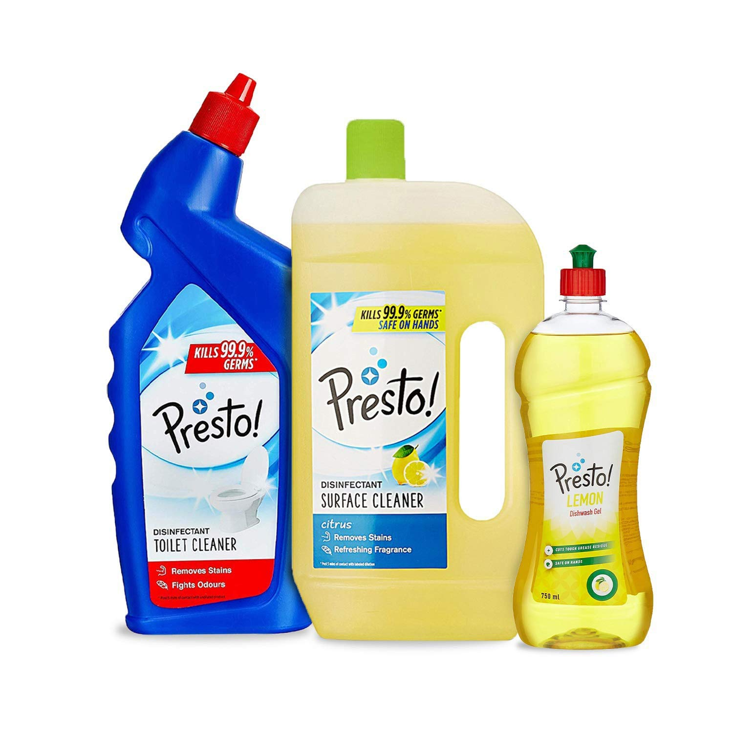 Grab Fast Presto! Combo (Toilet Cleaner+Surface Cleaner+Dishwash)